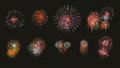Multiple fireworks exploding high in the sky can use for backgro Royalty Free Stock Photo
