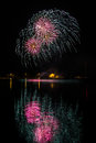 Multiple fireworks over Nuremberg Royalty Free Stock Photo