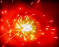Multiple fireworks in shades of red Royalty Free Stock Images