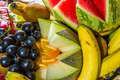 Multiple fruits on plate close up picture Stock Images