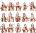 Multiple gestures or signs Royalty Free Stock Photos