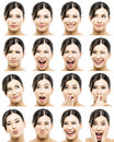 Multiple portraits beautiful asian woman different expressions Royalty Free Stock Photo