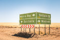 Multiple road sign in Namibia - WalvisBay - Solitaire - Windhoek Royalty Free Stock Photo