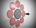 multiple target arrow hits center