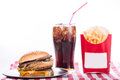 Multiple type of fast food on table Royalty Free Stock Image