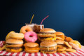 Multiple type of fast food on table Stock Image