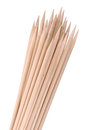 Multiple wooden bamboo skewers laying Stock Image