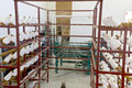 Multiple Yarn bobbins on loom framework Stock Photos