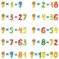 Multiplication table of 9 Royalty Free Stock Photos
