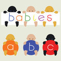 Multiracial babies with banners Stock Photo