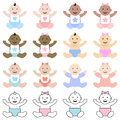Multiracial babies collection of sitting and happy Royalty Free Stock Photo