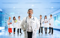 Multiracial diversity asian medical team expertise senior and mature doctors leading young practitioners standing inside hospital Royalty Free Stock Images