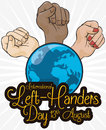 Multiracial Fists Elevating around the World for International Left-handers Day, Vector Illustration
