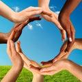 Mnohorasový ruky tvorba kruh spoločne