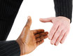 Multiracial handshake between two business men Stock Image