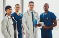 Multiracial team of doctors in a hospital Royalty Free Stock Photo