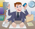 Multitasking business man cartoon a with lots of arms doing various office tasks Royalty Free Stock Photos