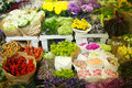 Multitude of color flowers at the wholesale market Royalty Free Stock Photo