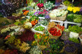 Multitude of color flowers at the wholesale market Stock Photos