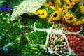 Multitude of color flowers at the wholesale market Stock Image