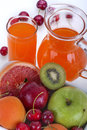 Multivitamin juice fresh healthy of several fruits Stock Photo