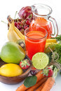Multivitamin juice healthy with various fruit and vegetables Royalty Free Stock Photos