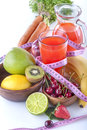 Multivitamin juice healthy with various fruit and vegetables Stock Image