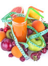 Multivitamin juice a healthy of various fruits with meter Stock Photo
