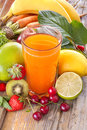 Multivitamin juice a healthy of various fruits and vegetables Stock Image