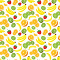 Multivitamin seamless background with whole pineapple fresh green kiwi slices strawberries oranges and bananas vector illustration Royalty Free Stock Images