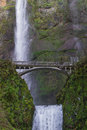Multnomah falls oregon beautiful in the columbia gorge in after a rock damage the bridge in january Royalty Free Stock Photos