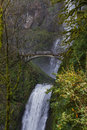 Multnomah falls oregon beautiful in the columbia gorge in after a rock damage the bridge in january Stock Image