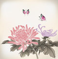 Mum and butterfly chinese style painting Royalty Free Stock Image