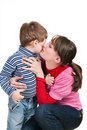 Mum kisses the small son Royalty Free Stock Photo