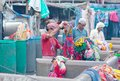 Workers washing clothes at Dhobi Ghat in Mumbai, Maharashtra, In Royalty Free Stock Photo