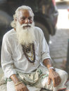 Mumbai street guru wise man sitting on the pavement of a in colaba india Stock Images