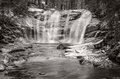 Mumlava waterfall giant mountains czech republic black and white picture of Stock Photo