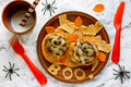 Mummy meatballs - Halloween dinner idea Royalty Free Stock Photo