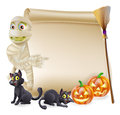 Mummy scroll halloween banner or sign with orange carved pumpkins and black witch s cats witch s broom stick and cartoon Stock Photography
