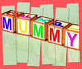 Mummy word mean mum parenthood and children meaning Royalty Free Stock Image