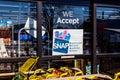 Muncie - Circa January 2018: A Sign at a Retailer - We Accept SNAP Royalty Free Stock Photo
