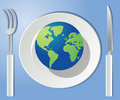Mundo en su placa Foto de archivo libre de regalías