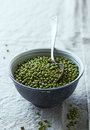 Mung bean in an old ceramic bowl Stock Photo