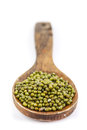 Mung bean on spoon white background Stock Photos