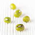 Mung bean on white wood Stock Photo