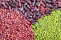 Mung beans, adzuki beans and red kidney beans Royalty Free Stock Photo