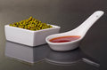 Mung beans in a ceramic bowl Stock Photos