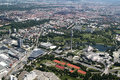 Munich aerial view of germany olympiapark bmw museum bmw welt Stock Photos