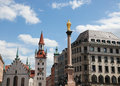 Munich altes rathaus the old town hall and the column of saint mary on the marienplatz in the old town of capital of bavaria Stock Images