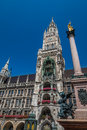 Munich city hall facade of in germany Royalty Free Stock Photo